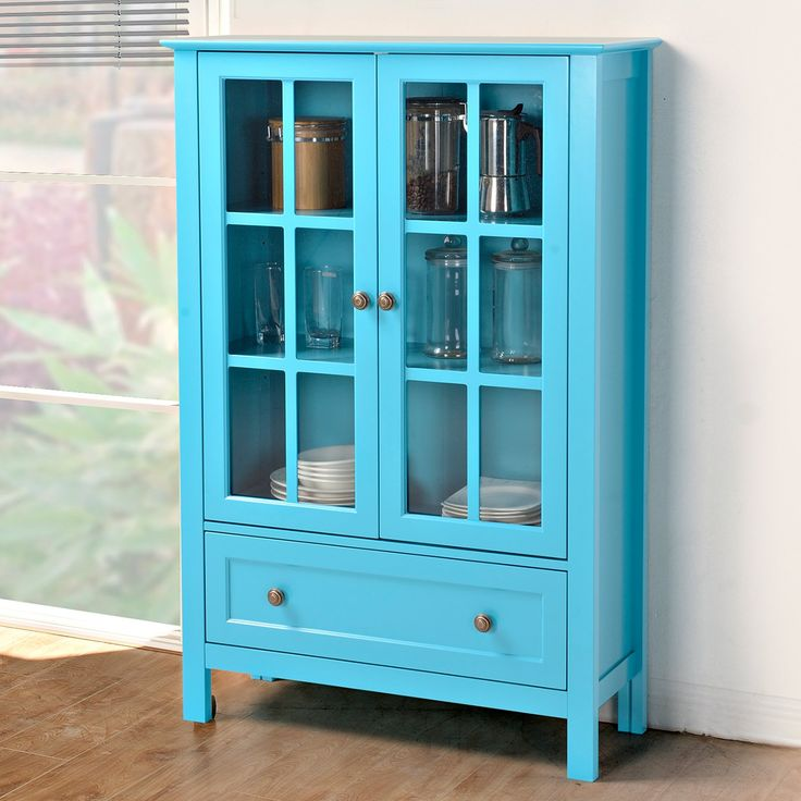 In Red Homestar Glass Curio Cabinet | from hayneedle.com