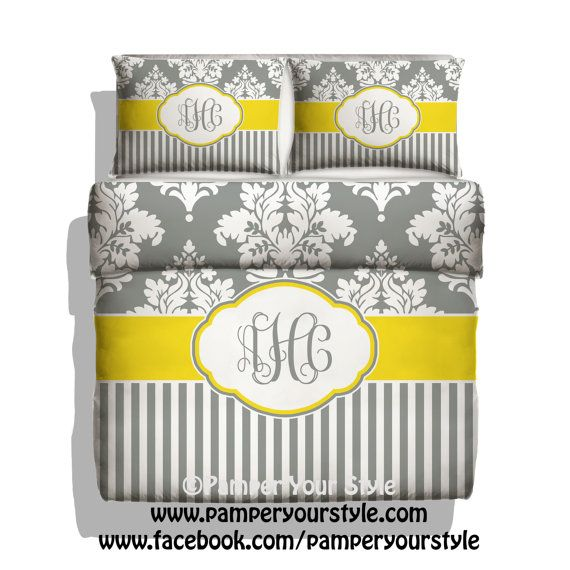Damask and Stripe Bedding  Yellow and Gray by PAMPERYOURSTYLE, $139.00