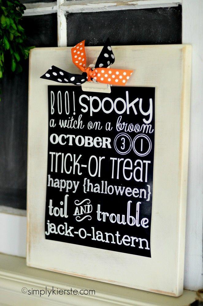 halloween chalkboard printable | simplykierste.com