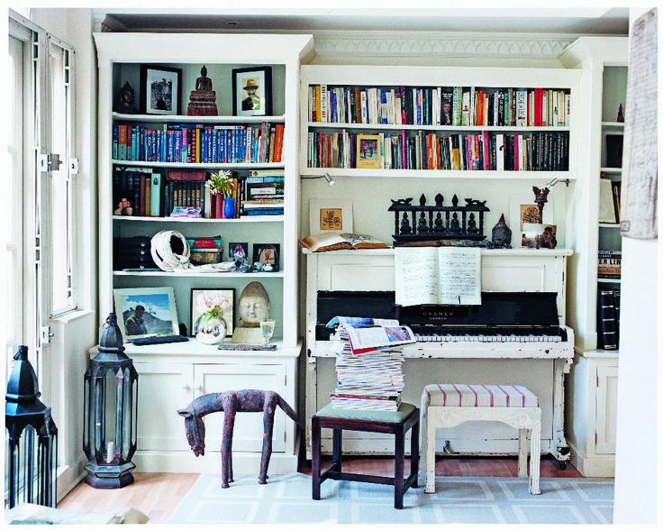 I love the idea of building shelves around a piano!
