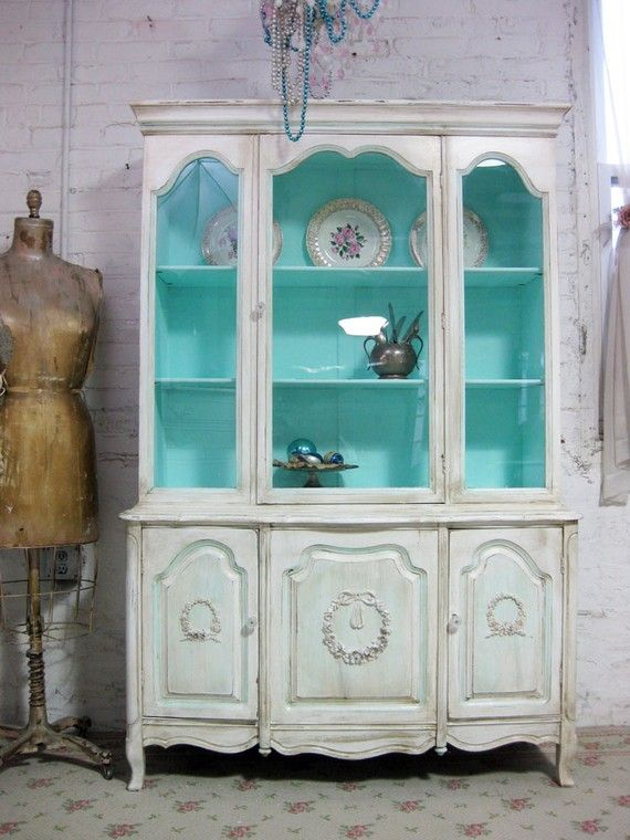 Vintage China Cabinet Aqua with Tea stain by paintedcottages