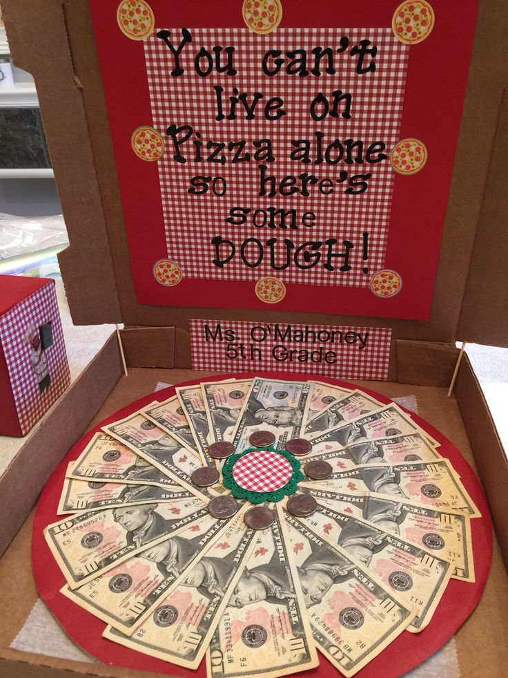 """Money Pizza for school fundraiser! A different take on the """"Money Tree""""!  Everyone loved it! ❤️"""