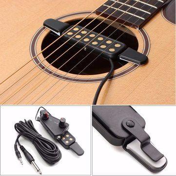 Sólo €13.19, compra mejor Amplificador de captación de sonido de guitarra acústica 12 agujeros con control de volumen de tono venta en línea en pricio del wholesale. Almacén de EE.UU./UE.