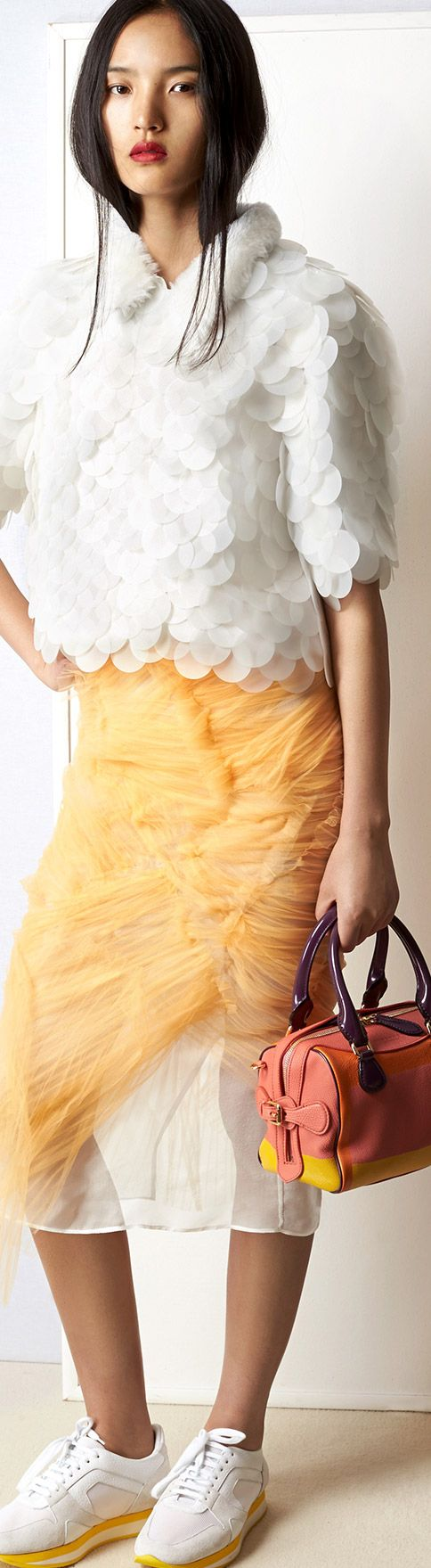 White sequins and cobweb tulle with The Mini Bee bag in bright hand-painted leather