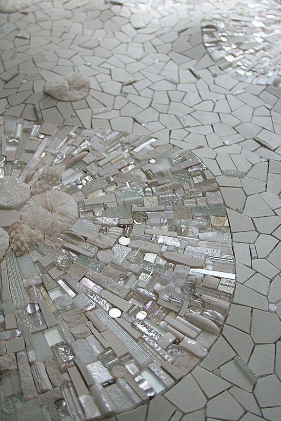 "Sonia King ""Permafrost"" 2009 24"" x 18"" Glass, ceramic, white gold, smalti, quartz, silver, marble, rock crystal, seashell, pearls, aluminum, selenite, abalone, pebbles."
