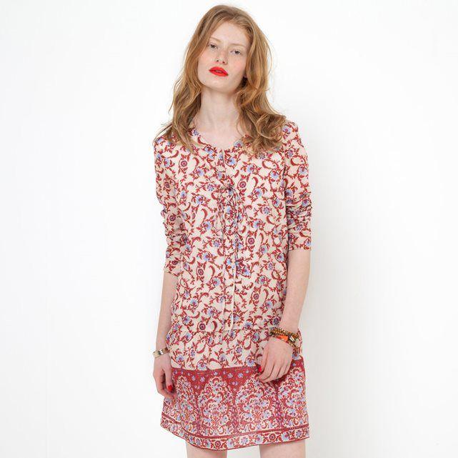 Printed Long-Sleeved Softly Draping Dress SOFT GREY