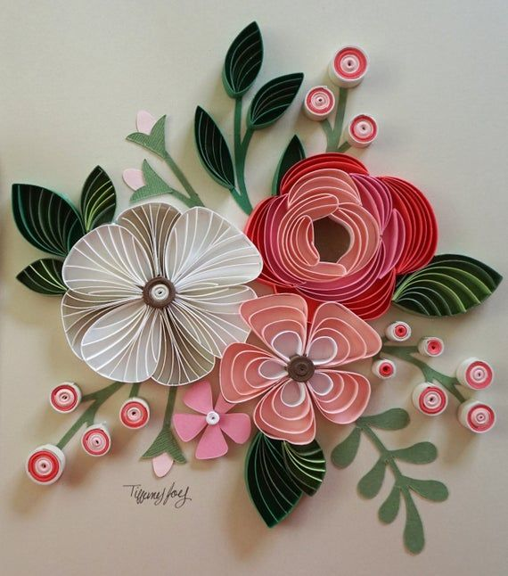 Pink Flower Bouquet Quilled Home Decor Quilling Designs Paper