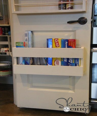 DIY Kitchen Organizer for Tin Foil, Plastic Wrap  could do this on the inside of the pantry cupboard