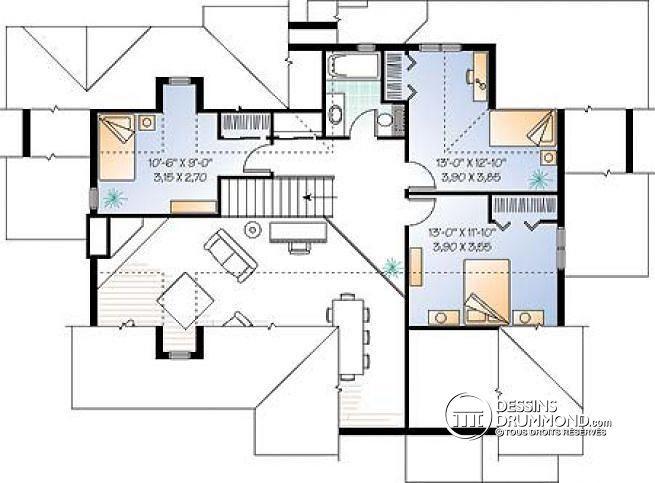 Simple plan de tage plan de maison champtre vue for Maison 4 chambres etage