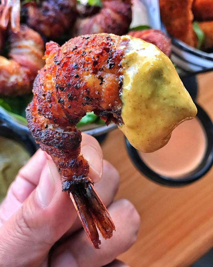 Bacon wrapped molasses marinated shrimp with mustard dipping sauce [1080 x 1350]
