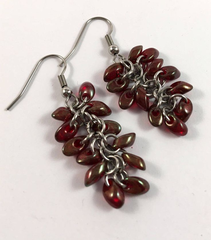 Cranberry chainmaille beaded earrings - unusual dangly earrings by TrinketFairyDesigns on Etsy