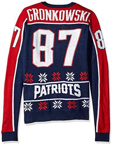 KLEW NFL New England Patriots Gronkowski R. #87 2015 Player Ugly Sweater, Medium, Blue