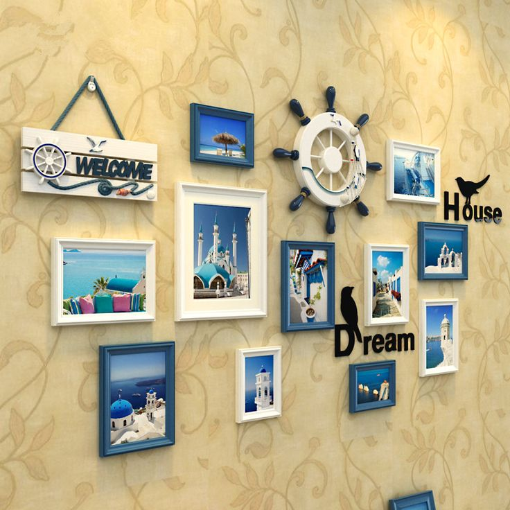 ==> [Free Shipping] Buy Best 1 Set(15 pcs) Mediterranean Style Picture Photo Frame Wood Wall Mural Photos Frames Wall Sticker DIY Home Decor Removable Online with LOWEST Price | 32570835306