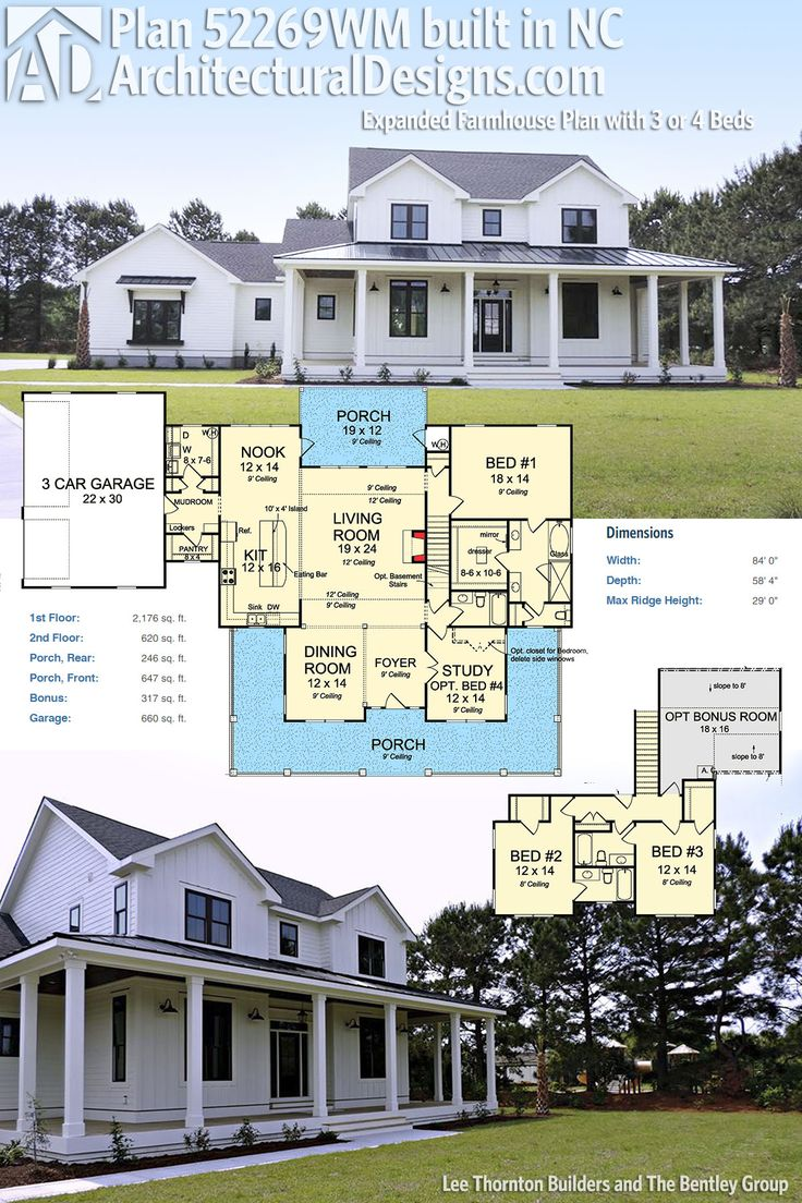 Architectural Designs Modern Farmhouse Plan 52269WM was stunningly built in North Carolina by our client, Lee Thornton Builders, for The Bentley Group. No detail or expense was spared inside and out in this beautiful example of today's modern farmhouse design.  Ready when you are. Where do YOU want to build?