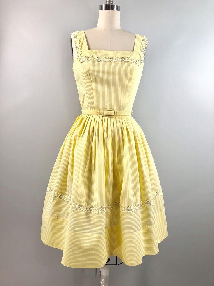 L'aiglon Vintage 50s 1950s Cotton Casual SunDress Yellow Searsucker Belt 34 bust