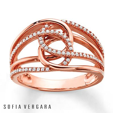 Loops of 10K rose gold interlock in this glamorous ring for her from SOFIA VERGARA. The ring shimmers with round diamonds, totaling 1/4 carat in weight. Diamond Total Carat Weight may range from .23 - .28 carats.