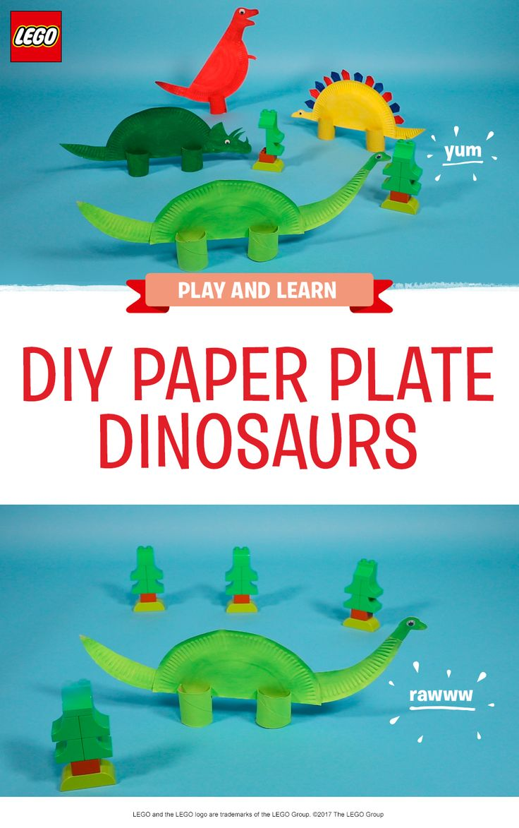 These super cool paper plate craft dinosaurs are a fun and creative activity for any dino-obsessed child (or grown-up!) All you need to make a herd of prehistoric friends is some paper party plates, paint, paper towel tubes, glue, scissors and any decorations you want to add. Add to the fun by helping your child to build some LEGO DUPLO trees for their new friends to munch on! http://lego.build/paper_dinosaur