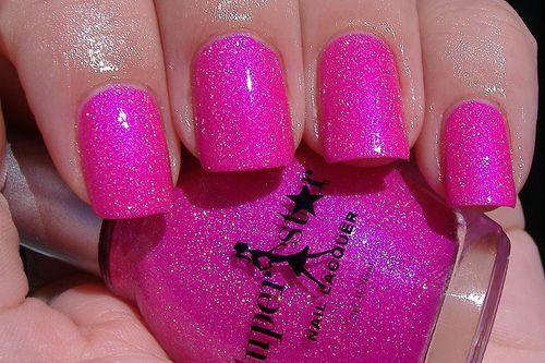 beautiful pink nailsNails Art, Pink Sparkle, Pink Nails, Sparkle Nails, Glitter Nails, Hot Pink, Nails Polish, Pink Glitter, Sparkly Nails