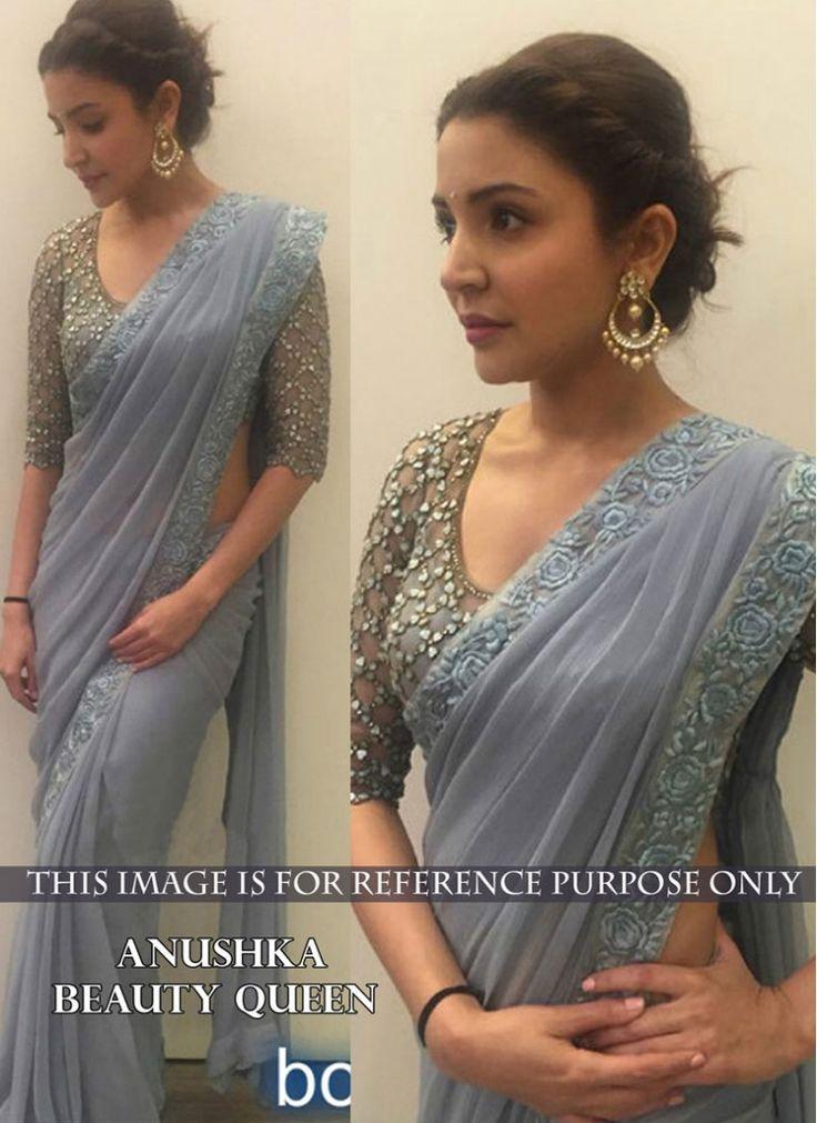 Staring Anushka Sharma Grey Georgette Trendy Saree