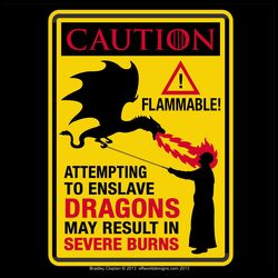 dungeons and dragons embroidery   Dragons caution sign parody. Black and red text on bright yellow ...