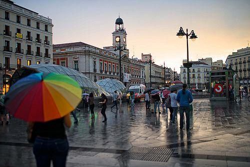 La Puerta del Sol after the rain, Madrid, Spain