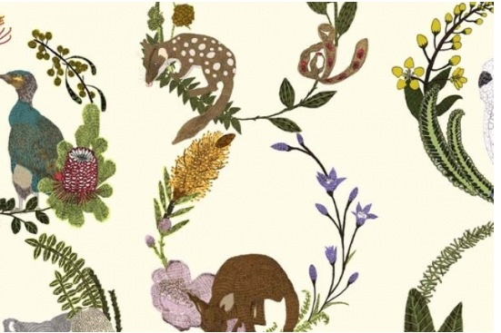 This is wallpaper! yes it is! Its Australian animals - designed by  Alice Newman  Quoll 1064-02 cream for  www.sparkk.com.au. Barbie, lets do the sitting room in this wall-to-floor!