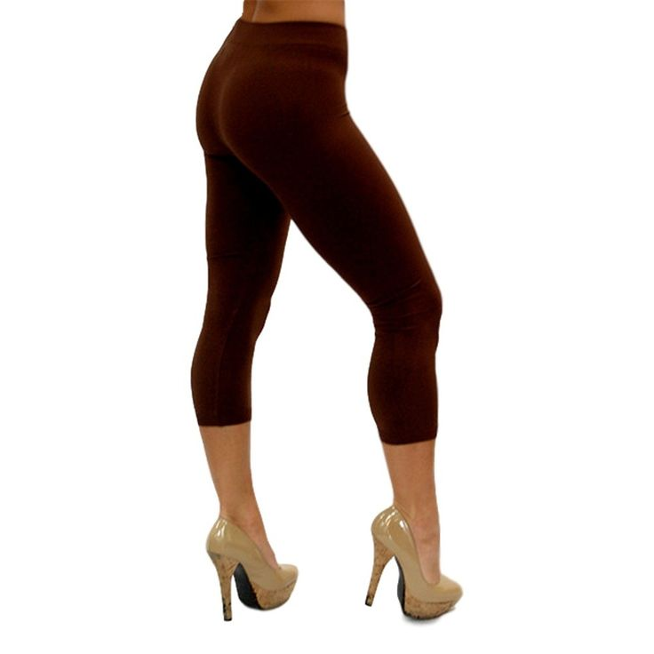 Curvy Capri Leggings, Brown