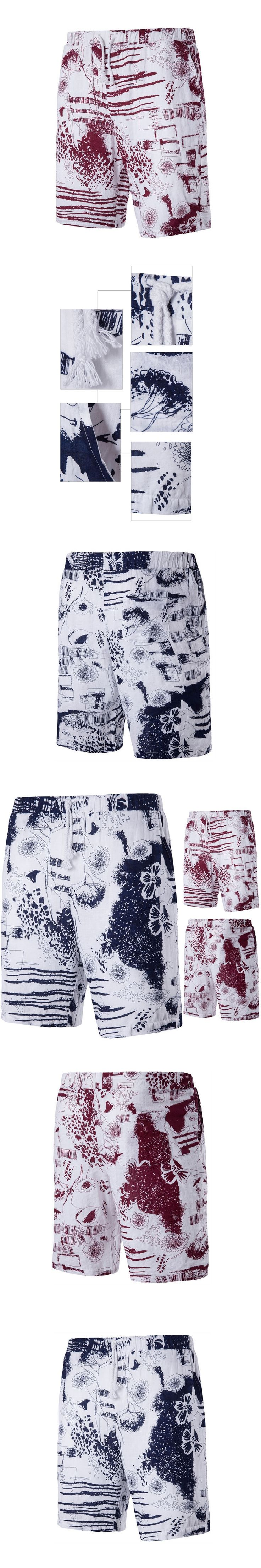 New Summer Style Casual Shorts Men Brand Fashion Boardshorts Male Cotton Flower Print Shorts Comfortable Beach Short Bermuda