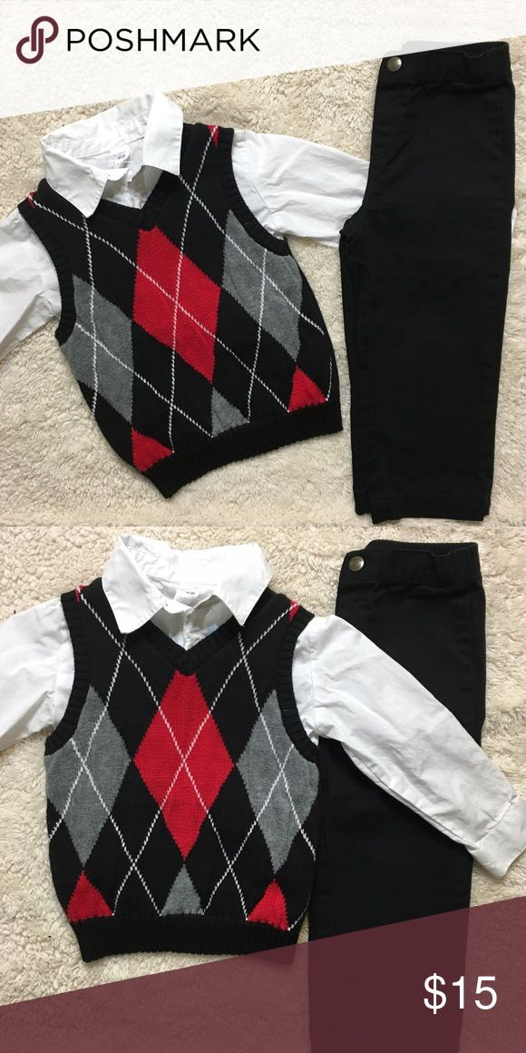 3T Special Occasion Outfit Size 3T special occasion outfit. Includes : black pants white button up polo and sweater vest Matching Sets