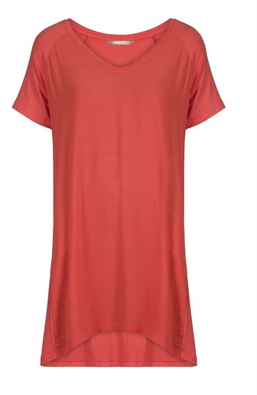 Sandwich Drapey Jersey T Shirt - Warm Coral £79 at www.lbdboutique.co.uk style number 1521510036