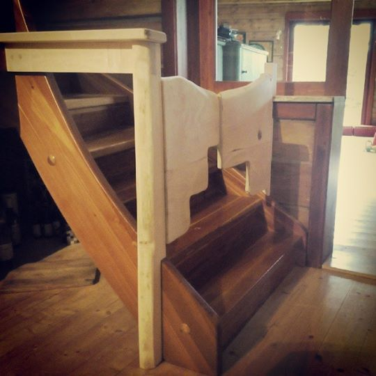 ecovastudesign / Hercik Residence / 2014 / Stairway gate to enclose the stairs to protect one year old little guy from falling down the stairs. The material used was czech maple
