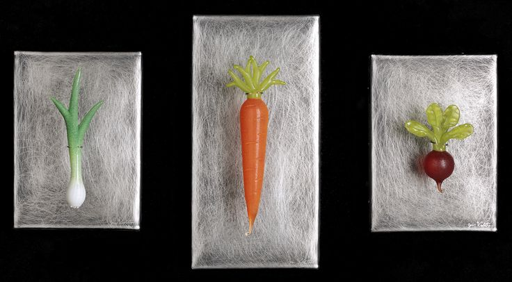 Art Glass, 'Three Single Vegetables', wall sculptures composed of hand blown glass vegetables and stainless steel. www.jenviolette.com