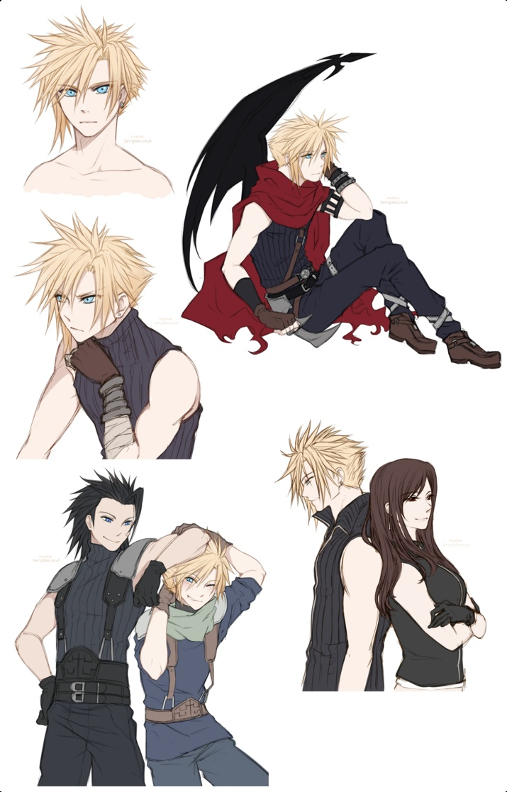 FFVII: Cloud Strife Doodles, By Rueme.