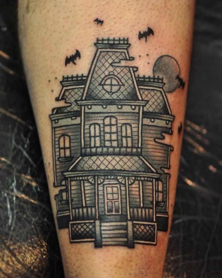 Lovely haunted house tattoo by Antony von Ratcorpse. If you're in New Zealand…