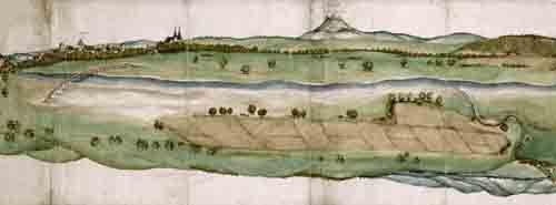 Die älteste bekannte Ansicht von Göppingen stammt von 1534/35 und zeigt in der Bildmitte den Hohenstaufen. Auf der Darstellung des Ulmer Malers Martin Schaffner sind auch das Christophsbad, das turmartige Stadthaus der Liebensteins, das Rathaus, die Heiligkreuzkapelle und die Oberhofenkirche zu erkennen.  (HStAS N 1 Nr. 1)