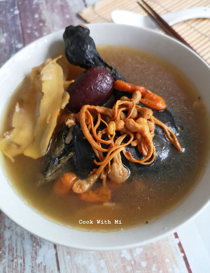 Cordyceps Flower Cordyceps Militaris Black Chicken Soup In 2021 Herbal Chicken Soup Chinese Soup Recipes Chicken Soup