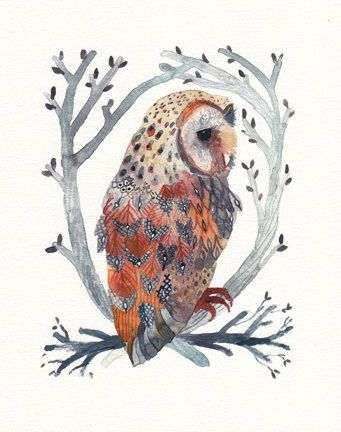 Barn Owl and Branches archival print by Michelle Morin (unitedthread on Etsy). $20