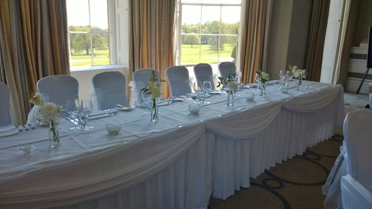 White top table swags at Rudding Park