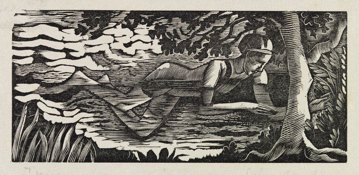'Swimmer' by Eric Ravilious (wood engraving)