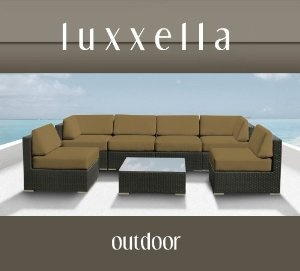 Genuine Luxxella Outdoor Patio Wicker Sofa Sectional Furniture BELLA 7pc Gorgeous Couch Set DARK BEIGE