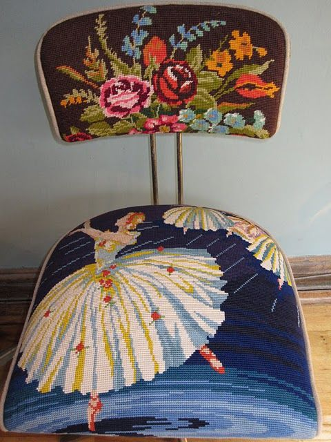 needlepoint chairs.. absolutely amazing! #vintage #furniture (note to self: if i ever find a bunch of old needlepoints i'm recovering a chair with them. NO question about it!)