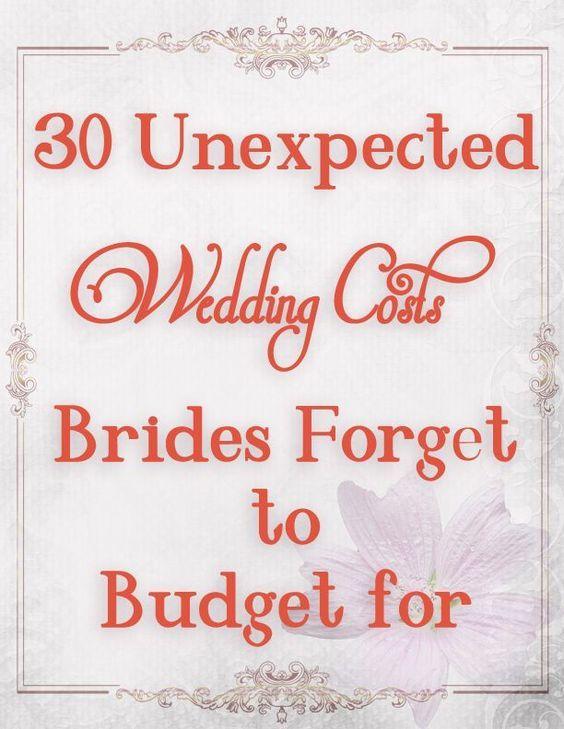 Wedding budget ideas--don't forget these when planning your wedding costs. frugal wedding Ideas #frugal #wedding