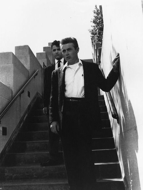 """""""James Dean and Sal Mineo on the set of Rebel Without a Cause, 1955. """""""