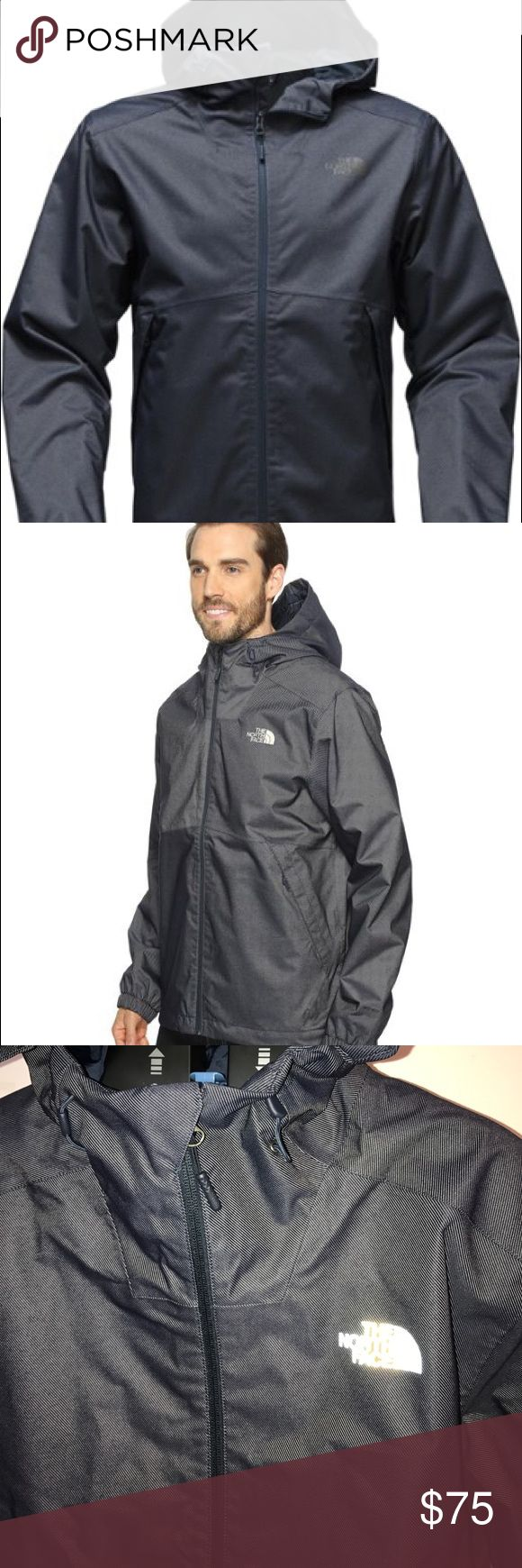 Brand New w/tags!! Men's North Face Rain Jacket Men's North Face Millerton Jacket in Dark Denim Blue.  Water Proof, Wind proof and breathable. Perfect condition  Active fit & Light weight  Waterproof, breathable, seam-sealed DryVent™ 2L shell with soft taffeta lining Attached, fully adjustable hood Exposed center front zip Secure-zip covered hand pockets Elastic cuffs Hem cinch-cord.                                                                Fit is true to size and sleeves are true to…