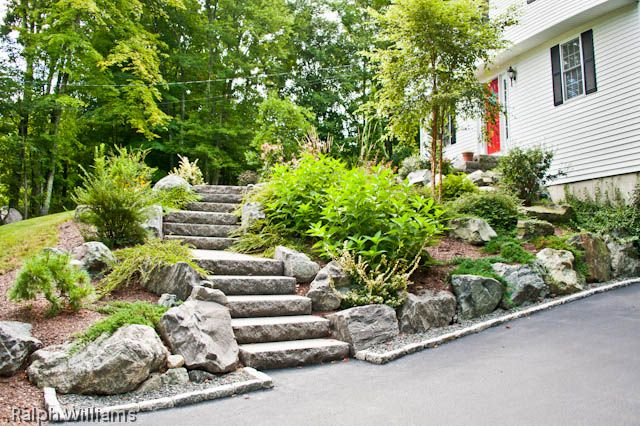 Granite steps and plantings landscaping a slope for Help me landscape my front yard