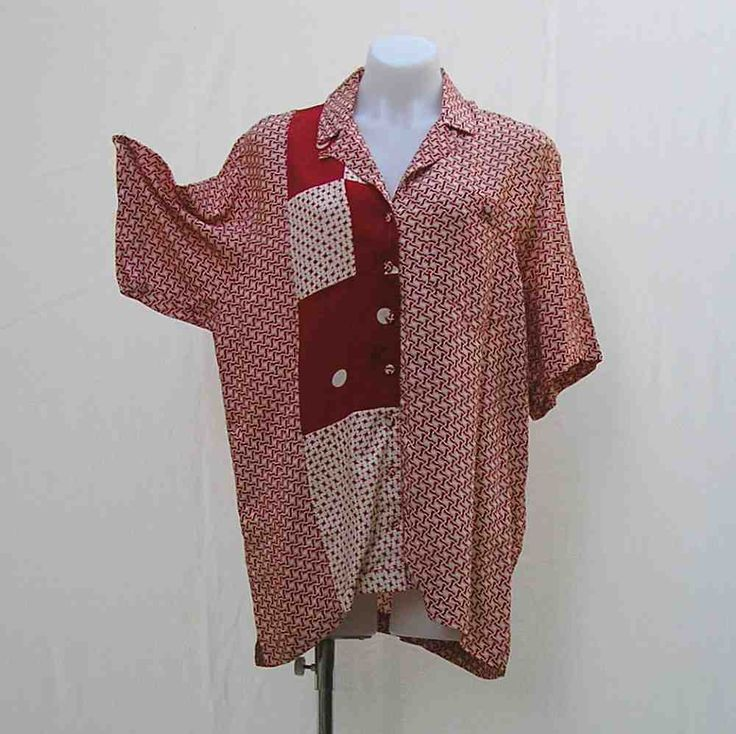 Vintage blouse, vintage Adele Palmer blouse, Adele Palmer shirt, size M, 1980s eighties 80s, 1990s nineties 90s, red and white, retro blouse by Rethreading on Etsy