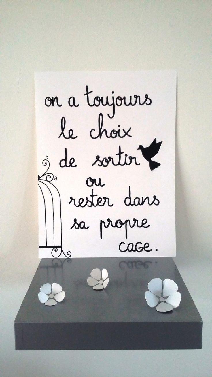 """affiche citation """" sortir ou rester dans sa propre cage """" : Affiches, illustrations, posters par stefebricole"""