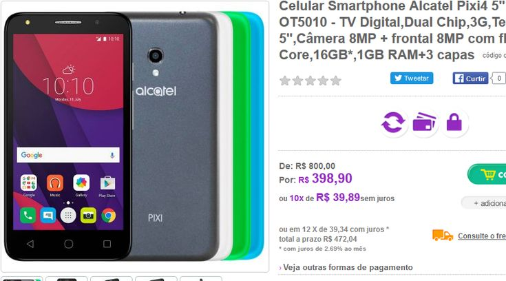 "Smartphone Alcatel Pixi4 Colors TV Digital Dual Chip 3G Tela 5"" Câmera 8MP + frontal 8MP com flash,Quad Core 16GB* 1GB RAM+3 capas >"