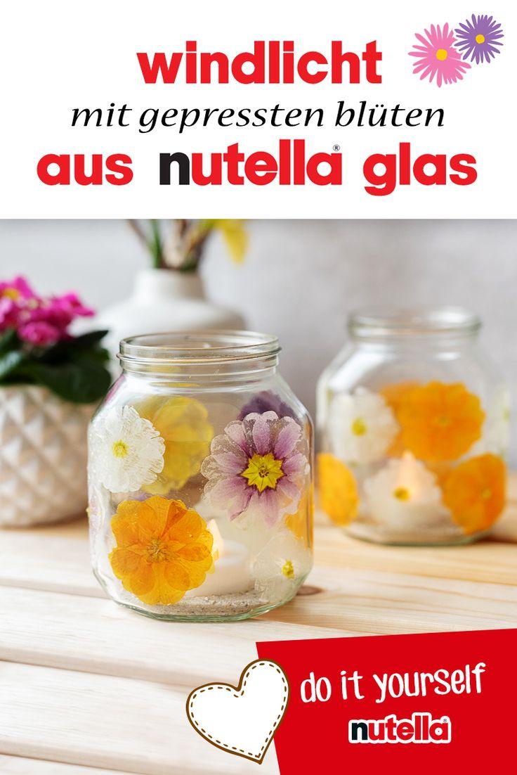 Windlicht mit gepressten Blüten aus nutella Glas