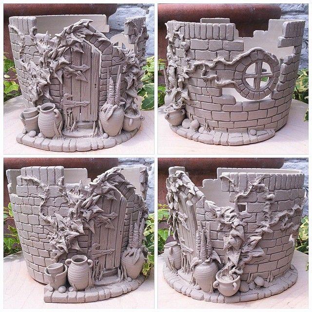 'Secret walled garden' yarn bowl. Unfired. by earthwoolfire